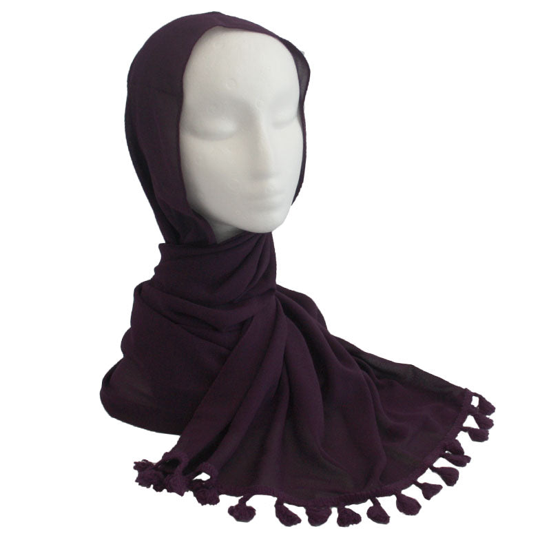 Tassel Edge Hijab Dark Purple