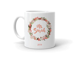 Personalised Teacher Mug Floral