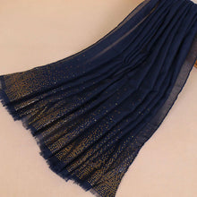 Gold Detailed Edge Hijab Navy