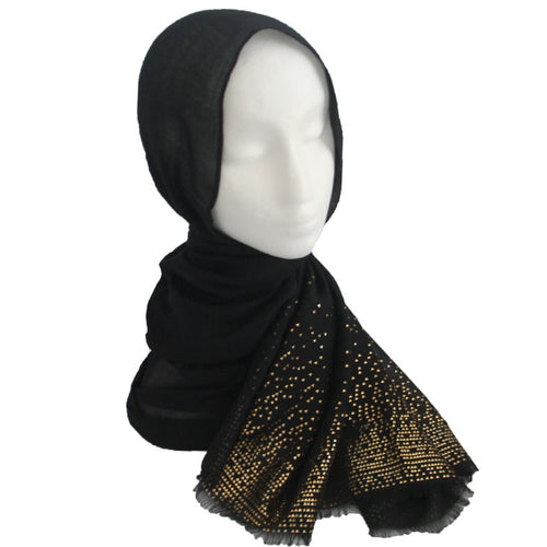 Gold Detailed Edge Hijab Black