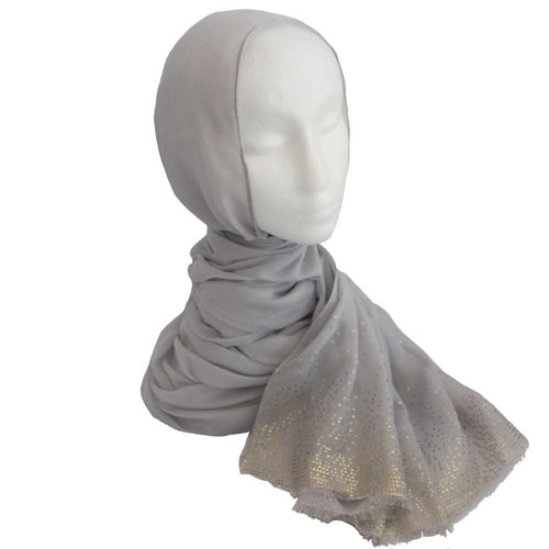 Gold Detailed Edge Hijab Light Grey