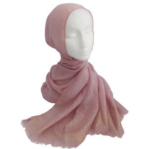 Gold Detailed Edge Hijab Pink