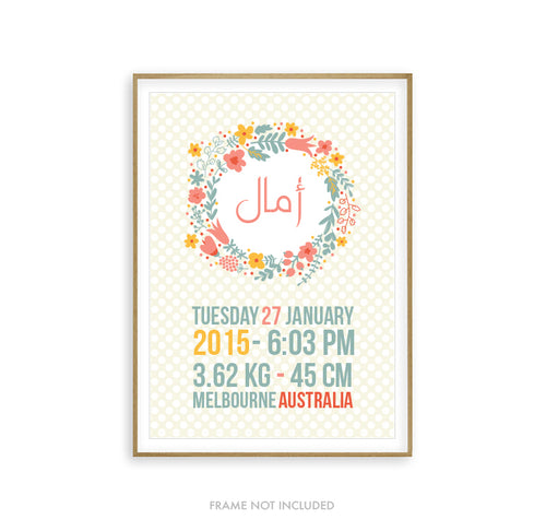 Custom Arabic Name w/ Birth Details Art Print