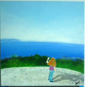 Girl by the Sea in Sydney (acrylic on canvas)
