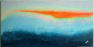 Sunset on the Mountains - Abstract Art (acrylic on canvas)