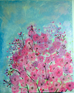 Pink Flowers and Blue Sky (acrylic on canvas)
