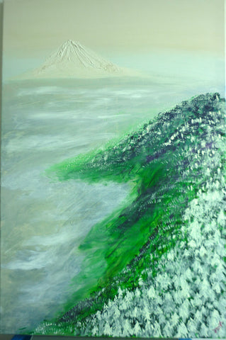 Snowy Mountain Top and Pine Trees  (acrylic on canvas)