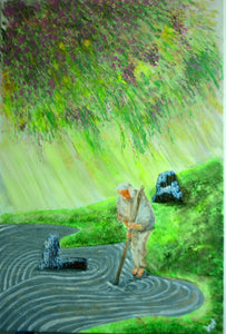 The Gardener in the Zen Garden (acrylic on canvas)