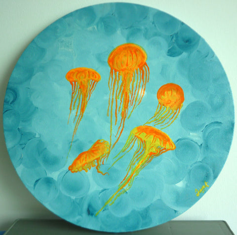 Jellyfish Tank (acrylic painting on canvas, framed)