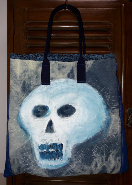 Denim Painted Skull Tote Bag View 2 of 2