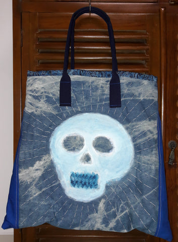 Denim Painted Skull Tote Bag View 1 of 2