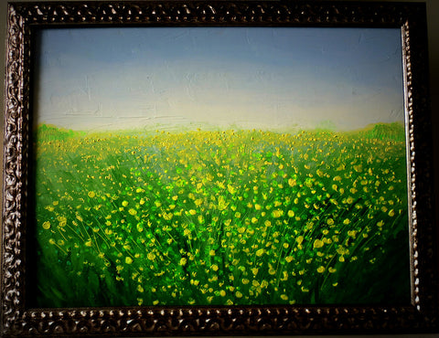 Splendor in the Grass III (acrylic on wood board, with frame)