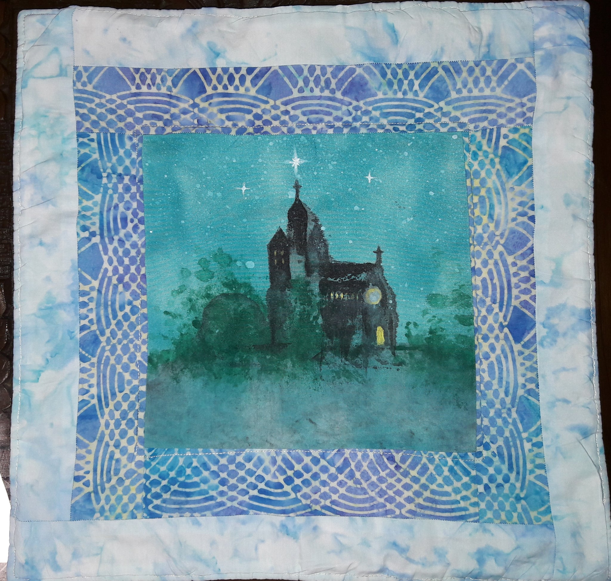 Nite Sky and Church Table Quilt (fibre art, quilt, 36.5cm x 36.5cm)