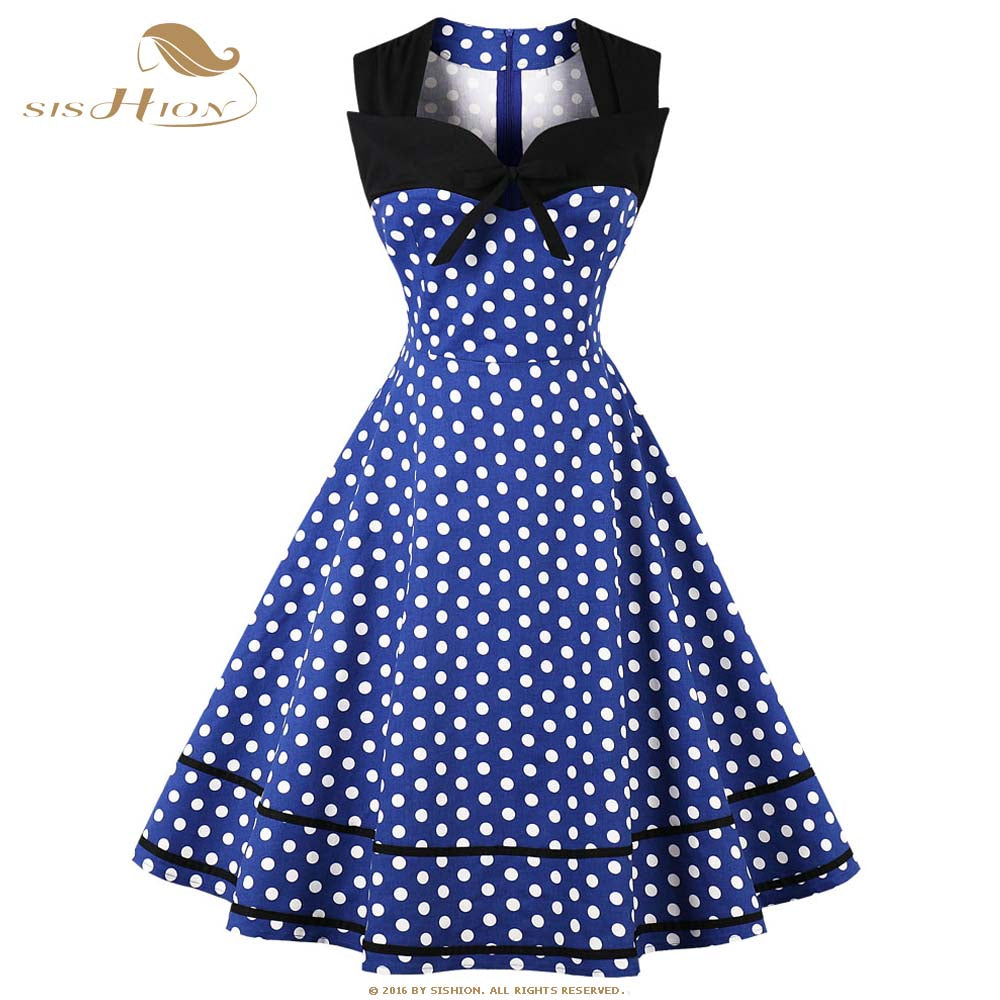 79d53090e17 SISHION Elegant Dress 2018 Summer Polka Dot 50s Cotton Blue Red White Retro  Vintage Dresses Big