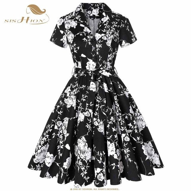 dc819cb1b67 SISHION Plus Size Retro Vintage Rockabilly Dress Black with Cowgirl Print  Short Sleeve Women Ladies Autumn