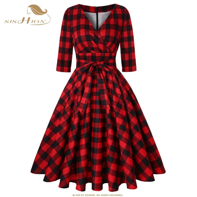 6b1381b9183 SISHION Rockabilly Dress Half Sleeve Cotton Women 50s 60s Large Swing Plus  Size Retro Vintage Red