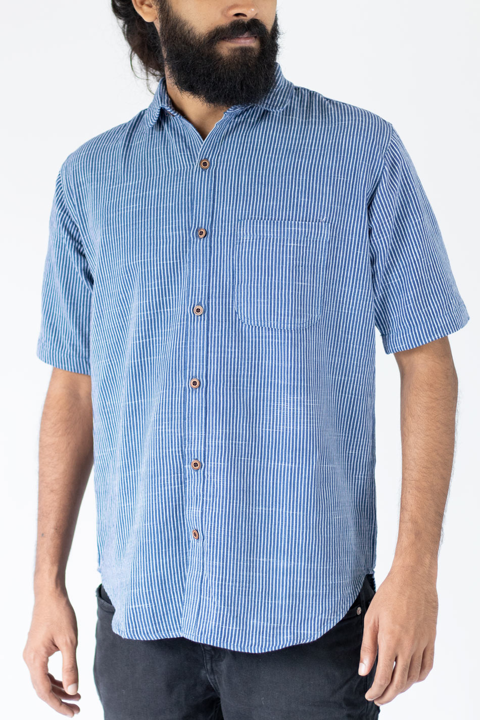 Arctic Blue White Striped shirt for men