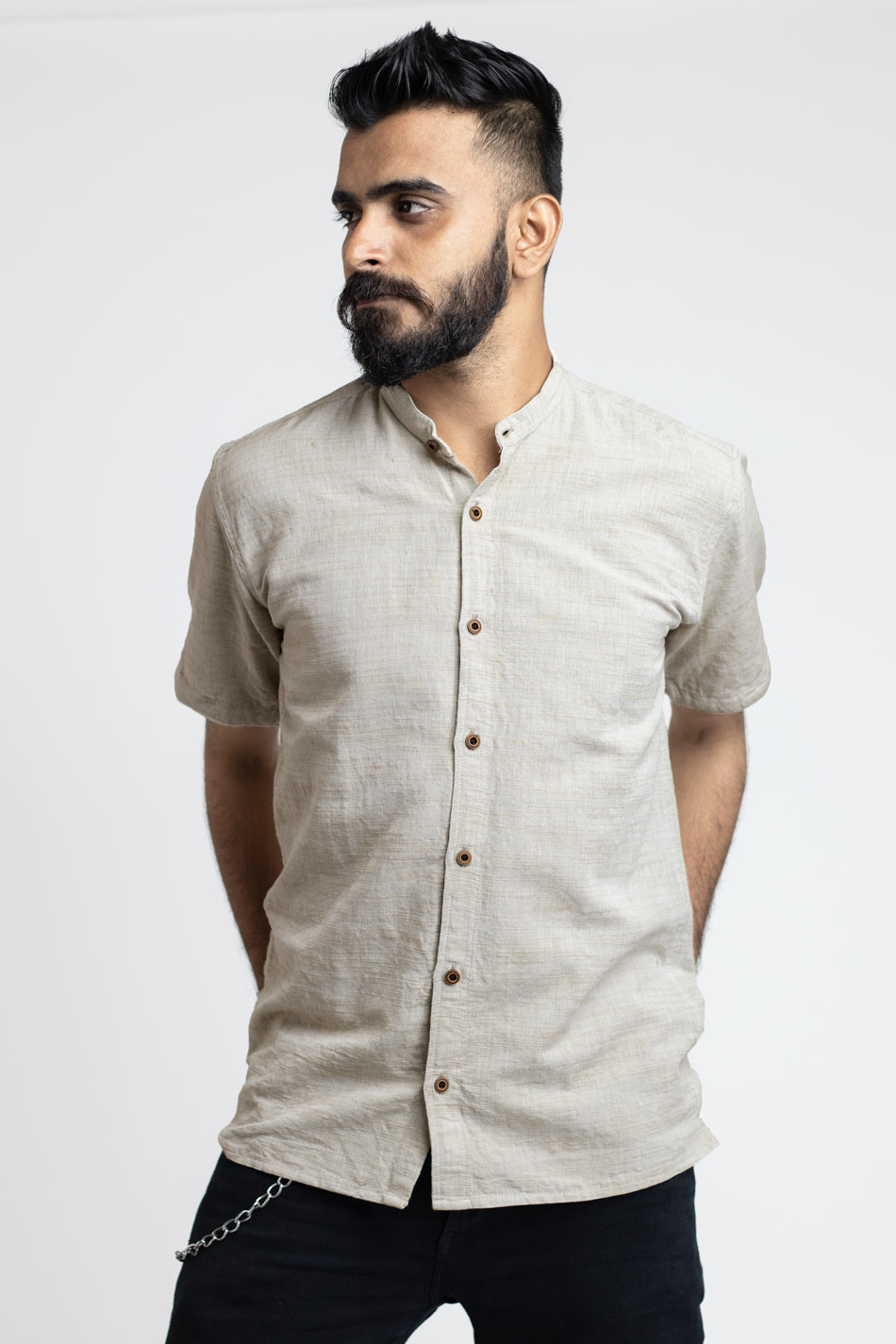 Cotton beige shirt for men