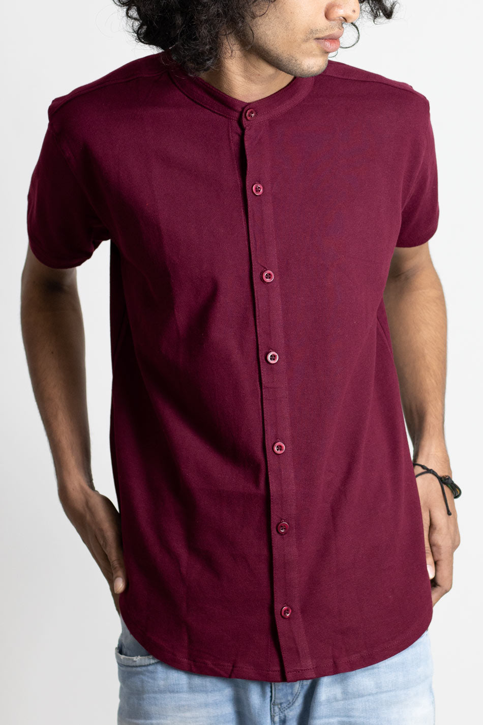 Cotton midnight blue pique shirt for men