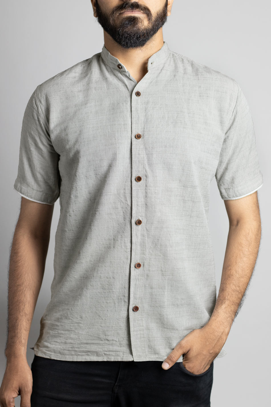 mens shirt cotton ash grey