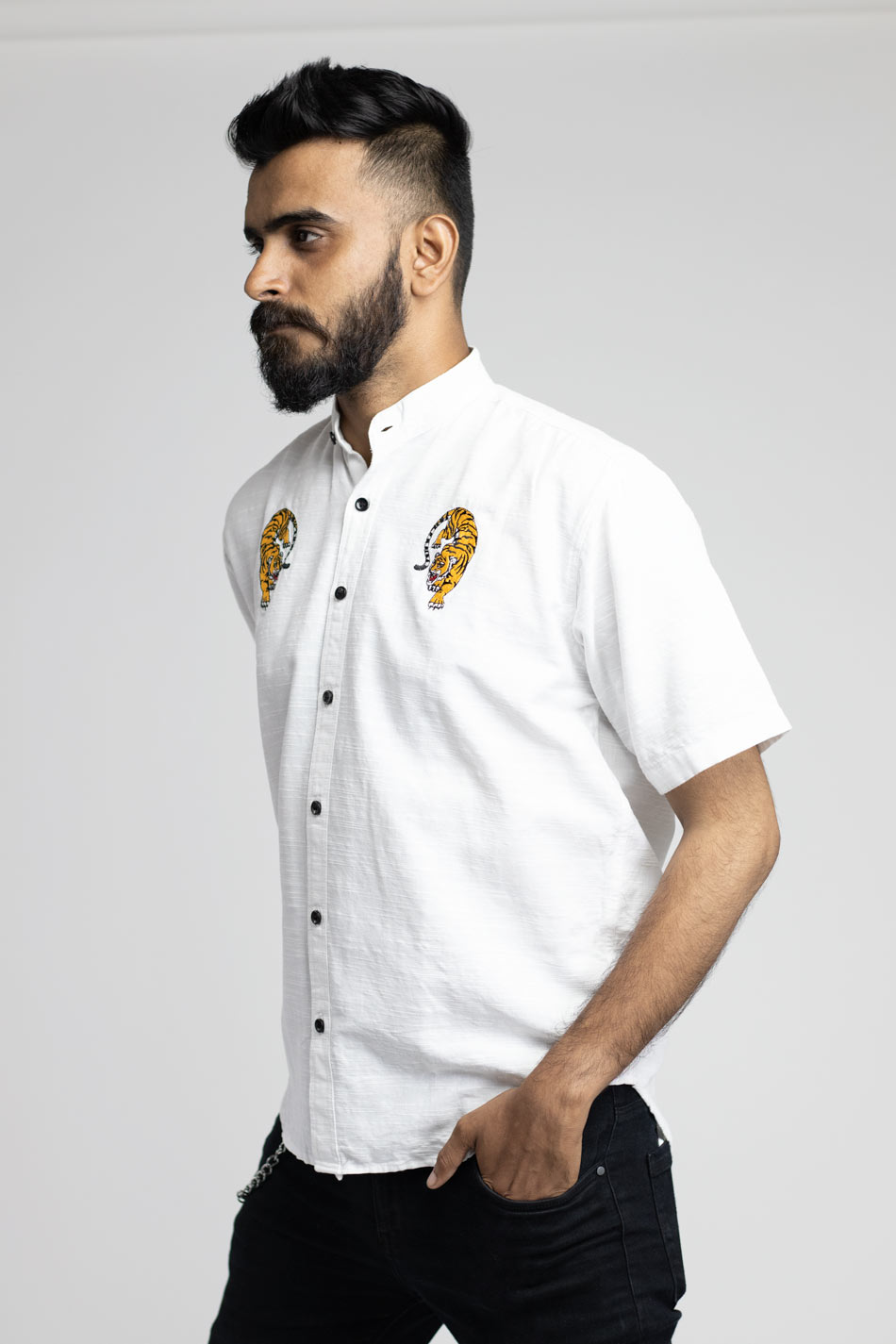 Cotton white embroidered shirt for men