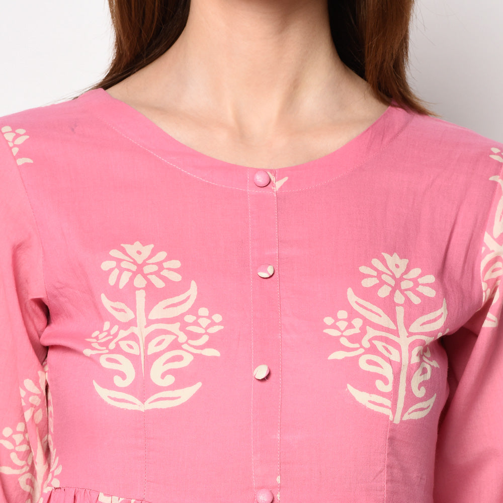 Cotton block printed Kurti by Vira'ahi