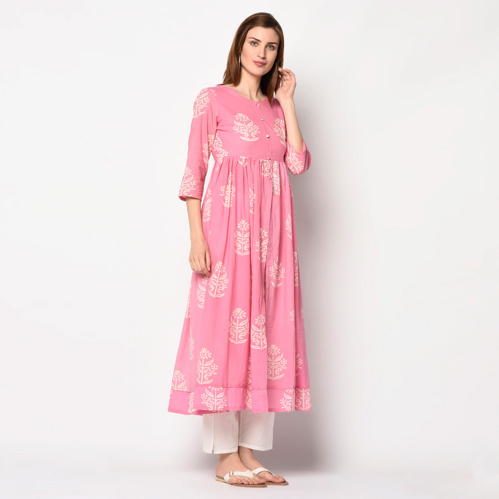 Baby pink block printed cape kurti with pant set