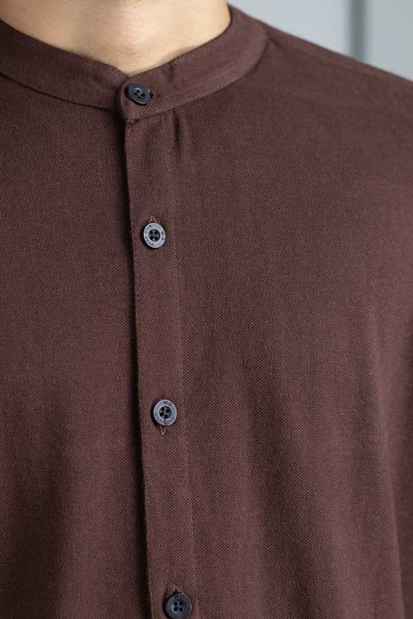 Cotton brown pique shirt for men