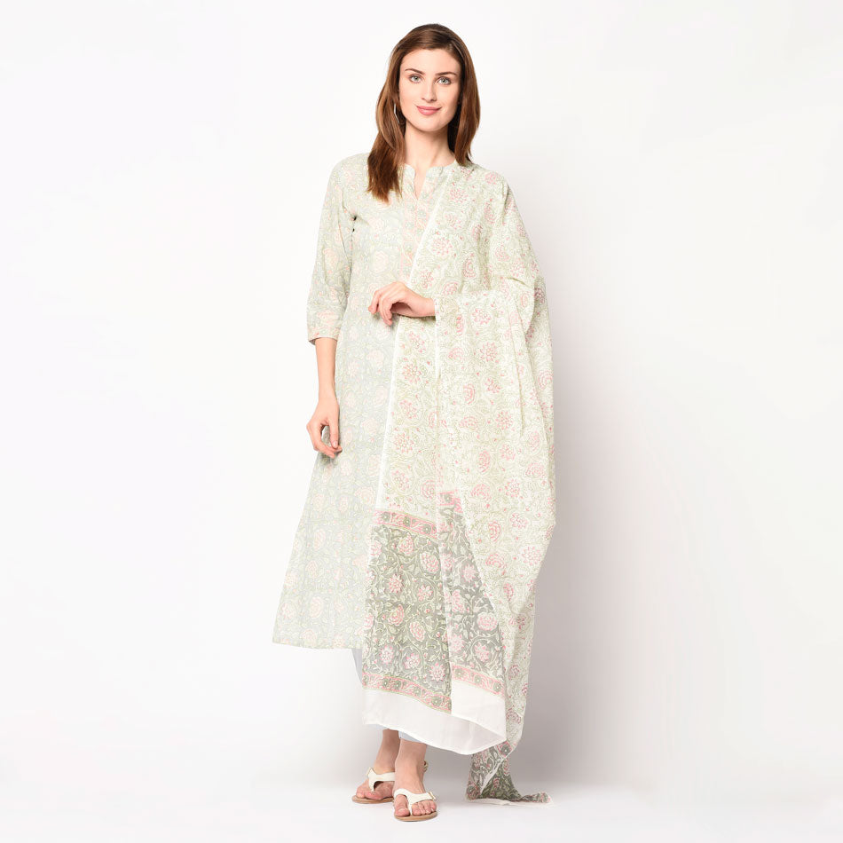 Grey block printed a-line kurti set