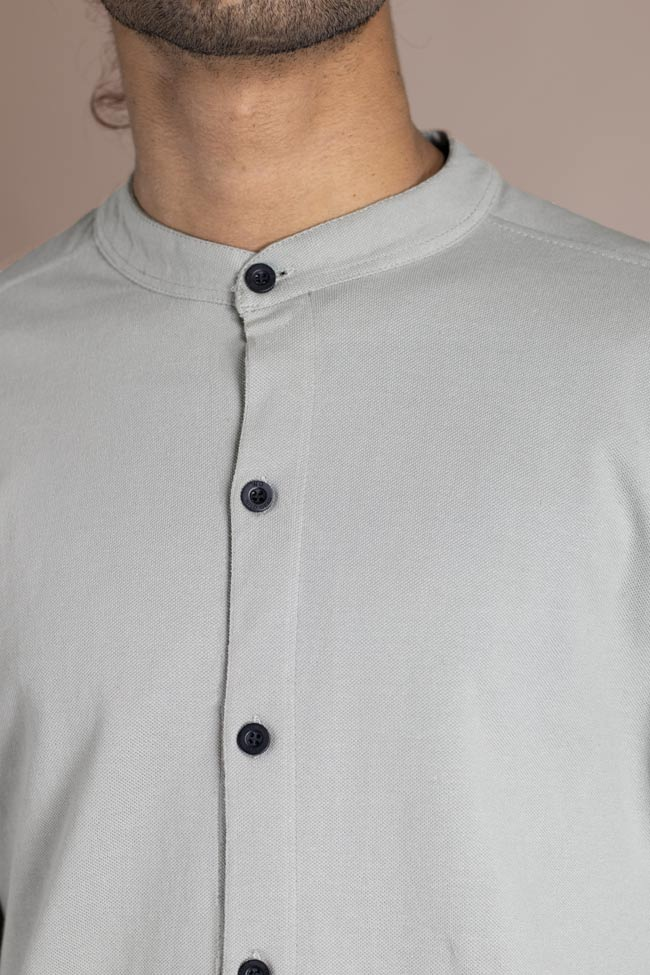 Cotton light grey casual shirt for men