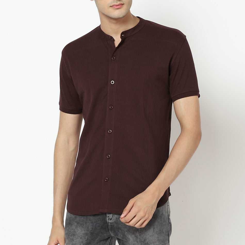 Cotton coffee brown shirt for men