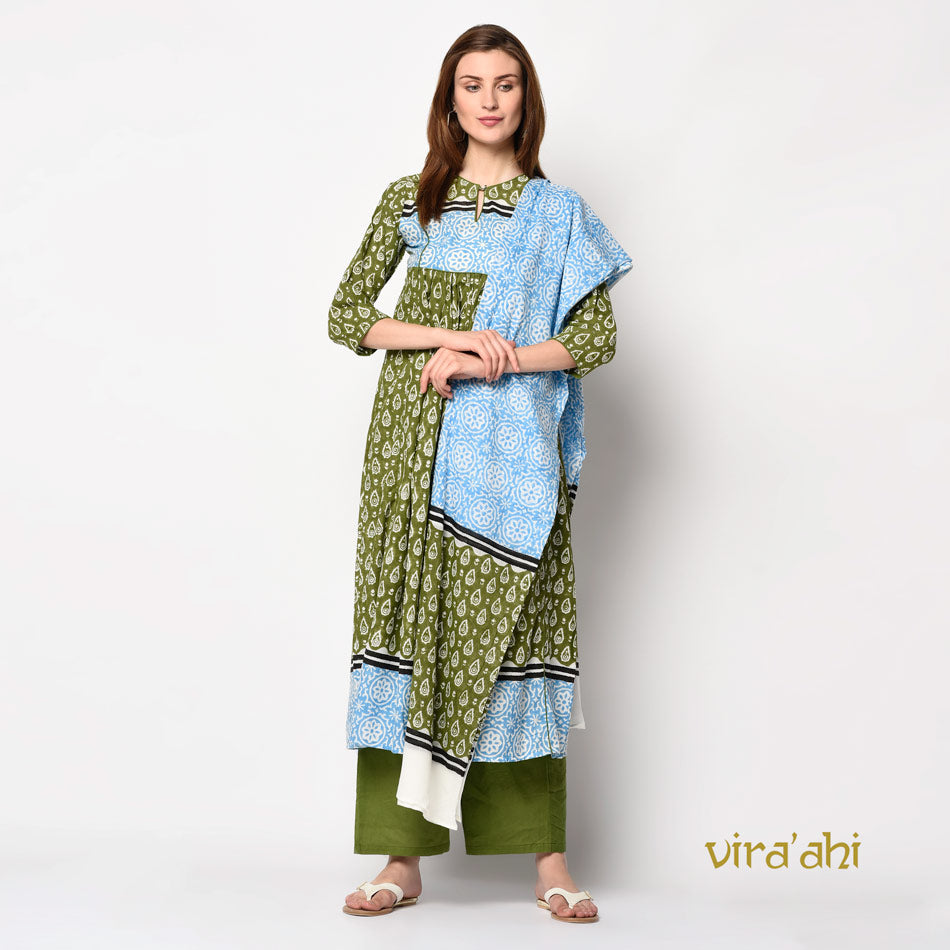 Olive green block printed gathered kurti set