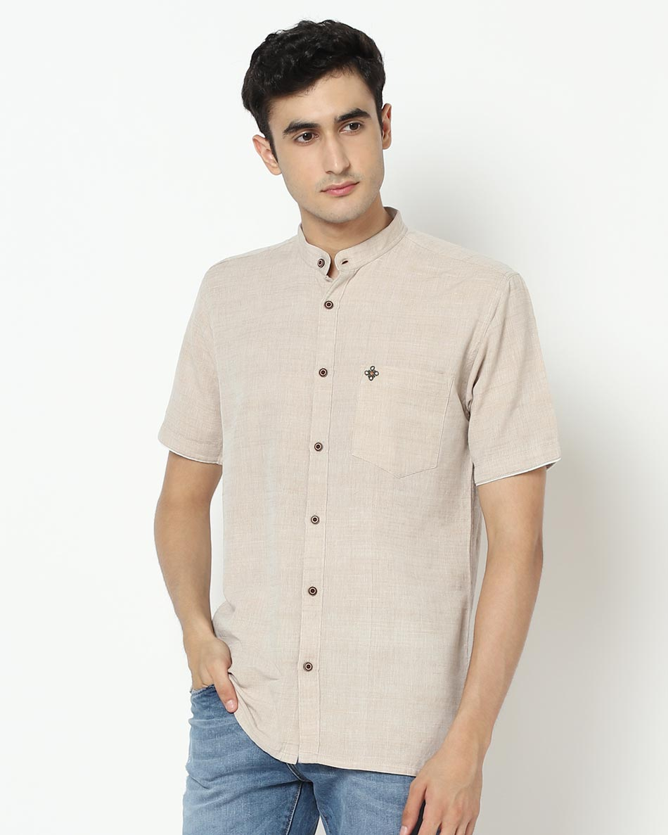 Grey half sleeve shirt for men