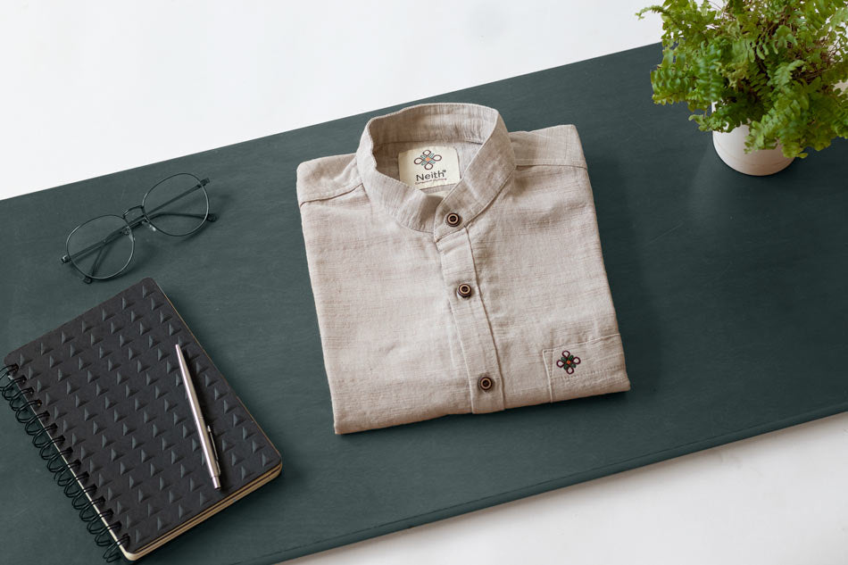 Deep Grey Shirt mandarin collar by Neith