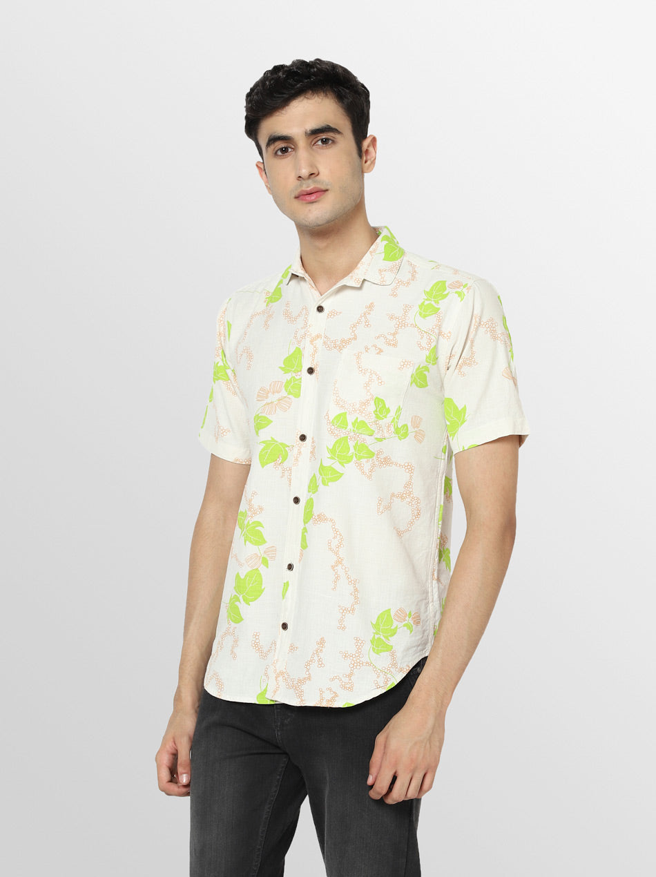 Cotton white printed shirt for men