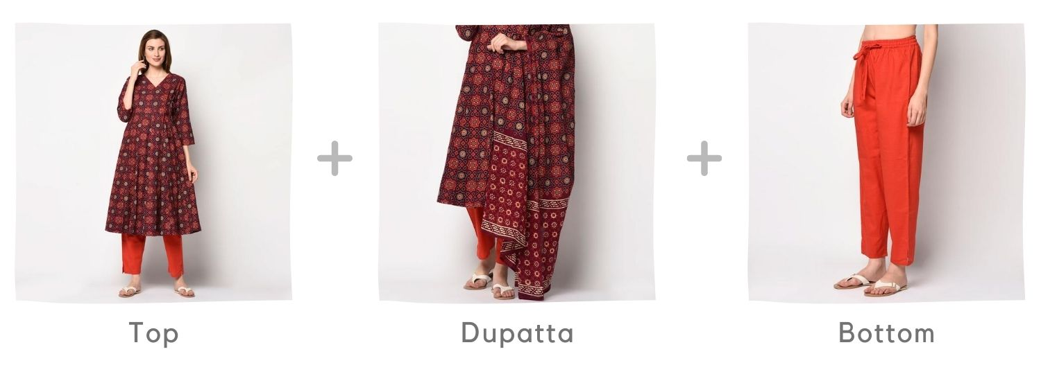 Kurti Set in Red - Red ajrakh angrakha