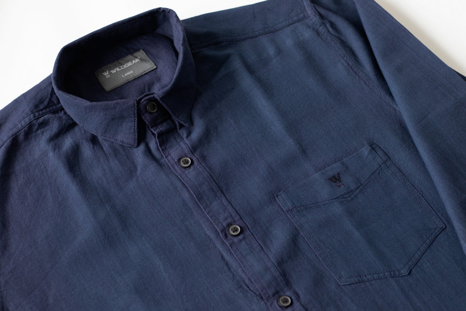 Blue shirt for men - 100% cotton