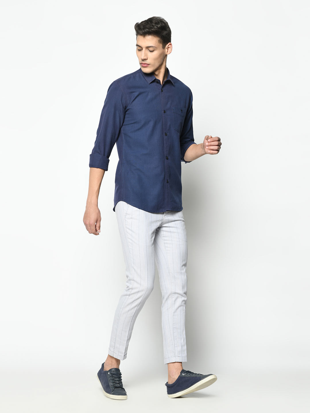 Cotton space blue shirt for men