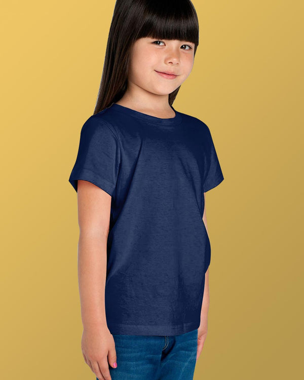 Girls O-Neck T-shirt Navy Blue