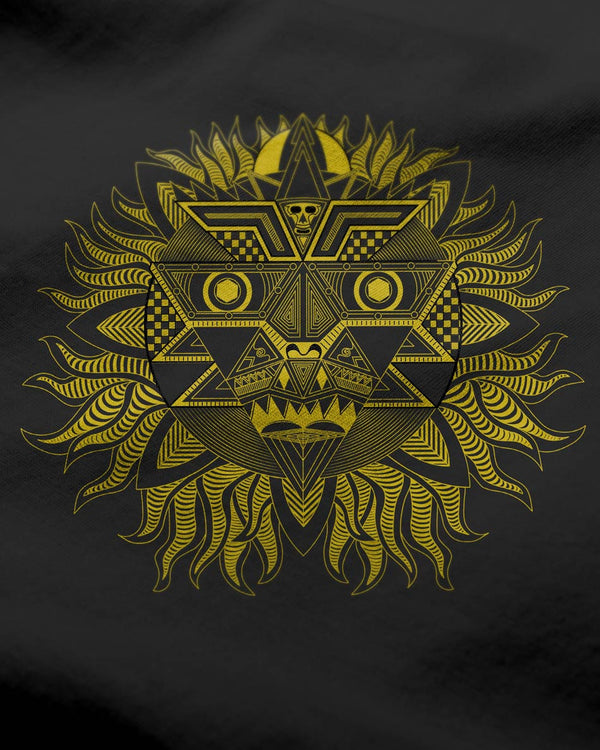 Black Men's O-neck - Aztec Sun graphic printed T-shirt