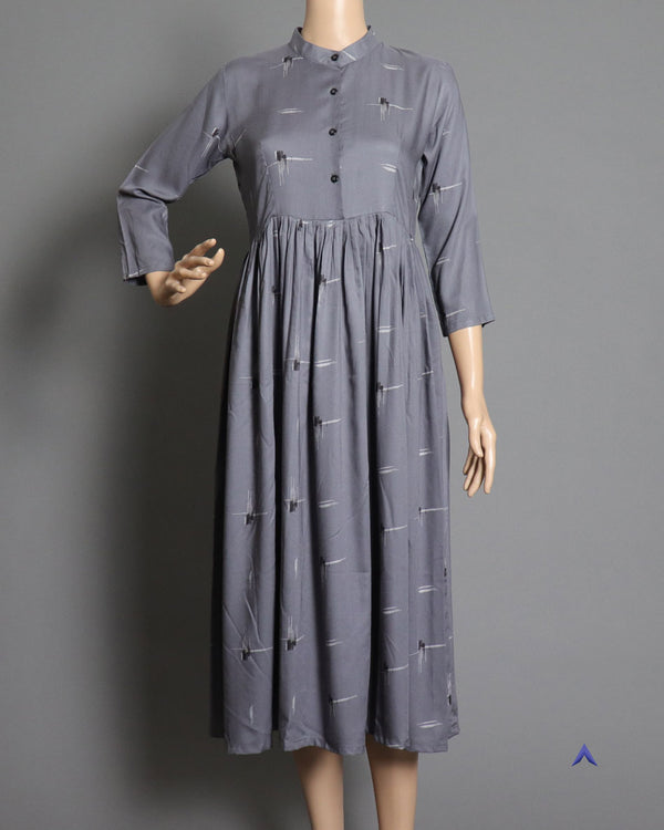 Vira'ahi - Grey Mandarin Collar Dress
