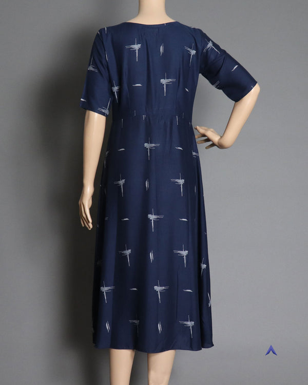 Vira'ahi - Navy Blue Box Pleated Dress