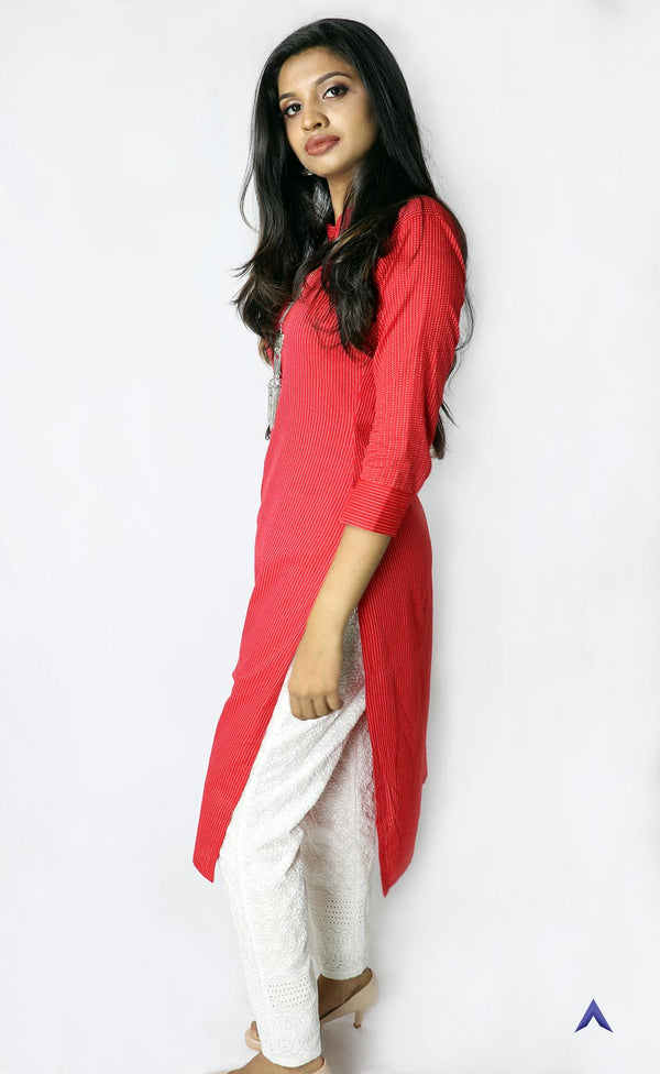 Red Cotton Kantha Kurti with Pant Set