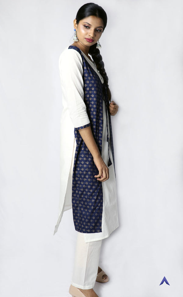White & Blue Jacketed Kurti