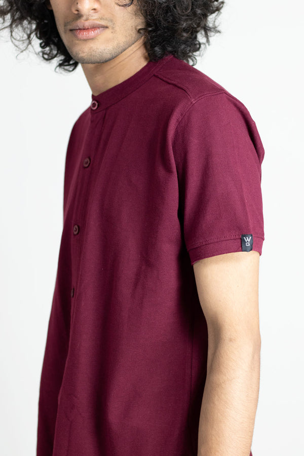 Maroon Oak Marcella Shirt - Mandarin Collar