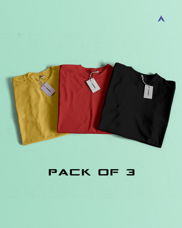 Pack of 3 - Yellow, Red, Black