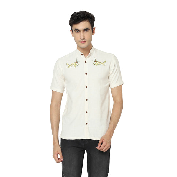 Jade Dragon Embroidered Shirt