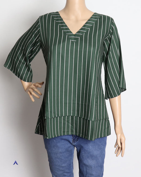 Vira'ahi - Women's Dark Green Layered Top