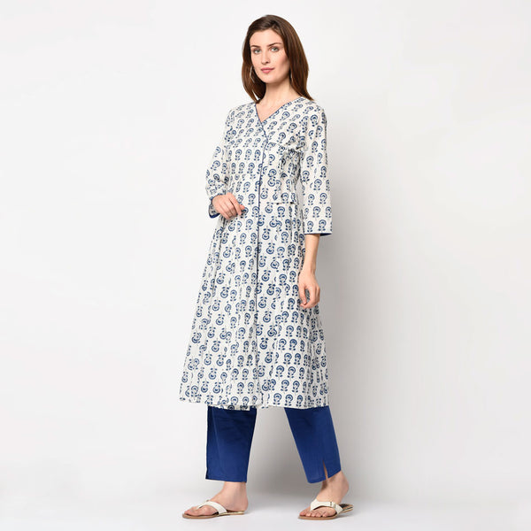 Off white block printed angrakha kurti set
