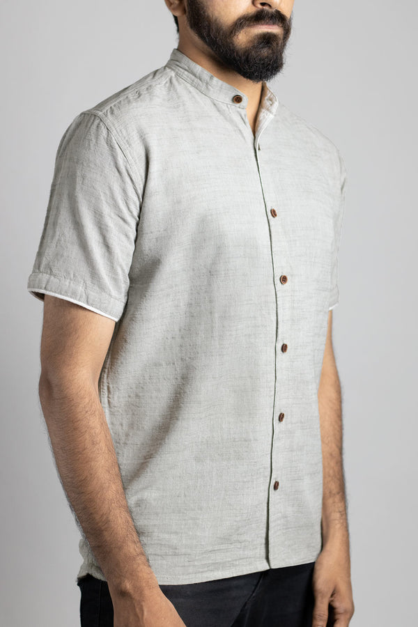 Mandarin Collar Slub Pattern Shirt - Ash Grey